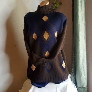 Coconut Brown & Blue merino wool Turtle Neck XL
